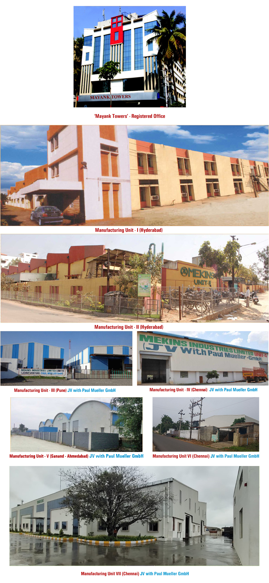 Manufacturing Unit 1 & 2, and Mayank Towers Mekins Registered Office